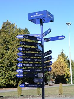 signpost with arrows pointing to different destinations in many directions
