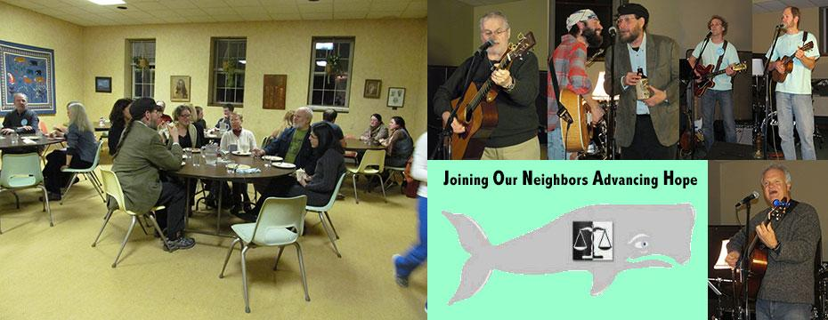 Friends gathered for a potluck dinner followed by musicians performing at the microphone.