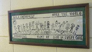 "poster that reads ""Walk cheerfully over the world answering that of God in everyone."""